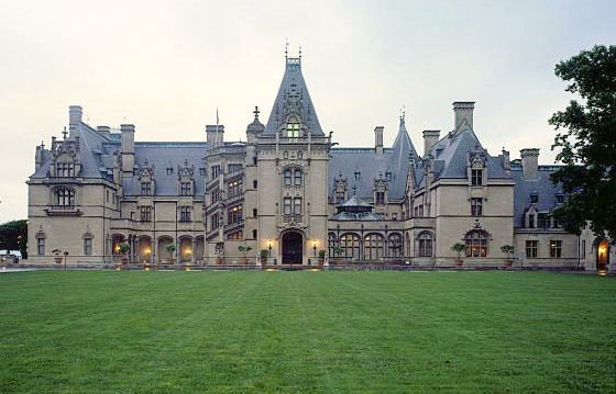 The Biltmore House at dusk, built between 1889 and 1895 in Asheville, NC, by George Vanderbilt, grandson of Cornelius Vanderbilt (known as the Commodore.)